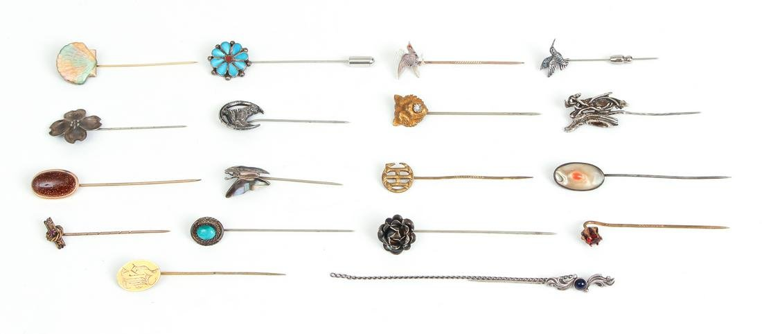 Group of Sterling and Other Stick Pins