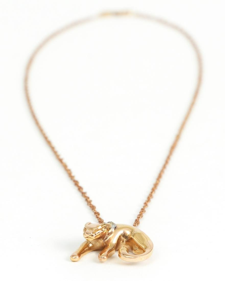 14 K Gold and Diamond Cat Themed Necklace