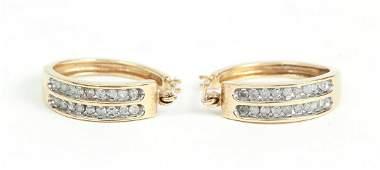 14 K Gold and Diamond Hoop Earrings