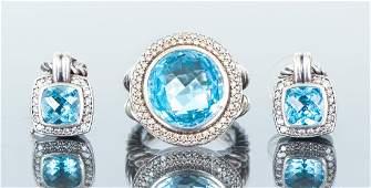 David Yurman Blue Topaz and Diamond Set