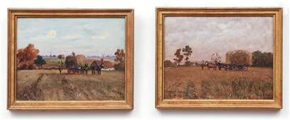 Pair Untitled Landscape Paintings with Horses