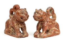 Two Carved Wood Indian Lions