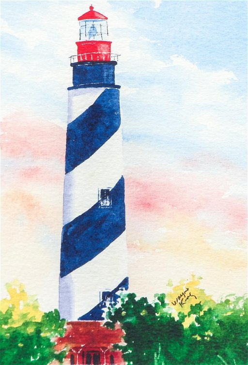 Wayne King Lighthouse Watercolor