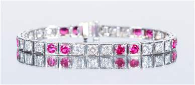 Art Deco Platinum Diamond Ruby Bracelet