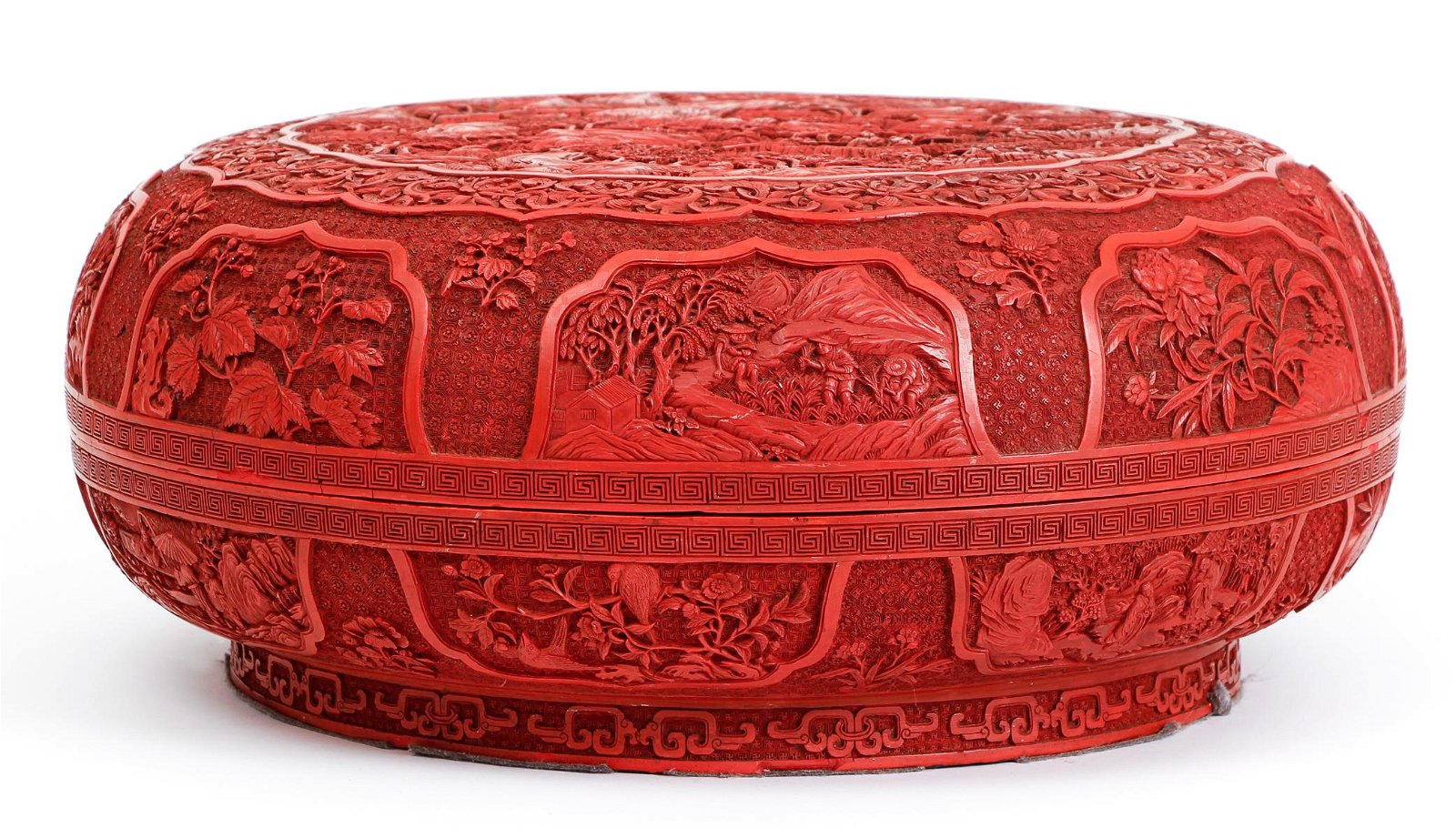 Chinese Large Cinnabar Covered Carved Circular Box