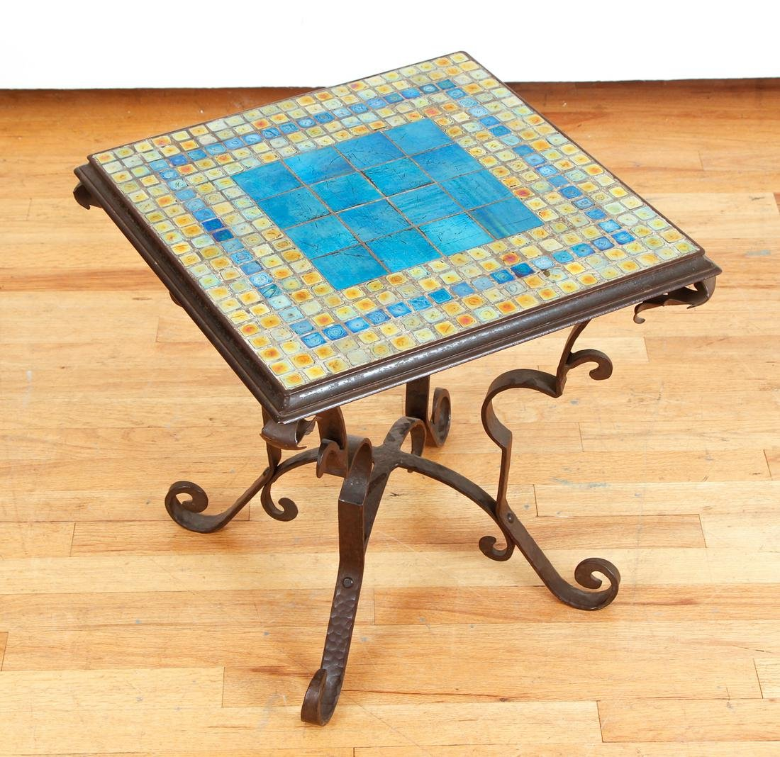 Arts and Crafts Steuben Tile Wrought Iron Table