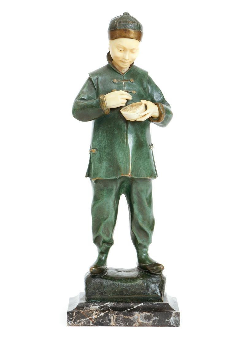 Helene Maynard White Bronze of a Chinese Boy