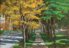 Ron Donoughe plein air oil Sun Dappled Street Landscape