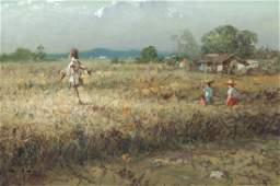 Crispin V. Lopez Filipino painter 1976 Farm Field with