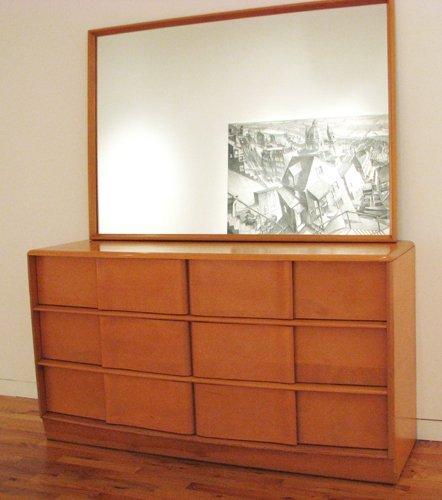 13: Heywood Wakefield Sculptura dresser with mirror