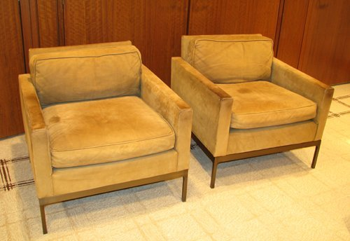 14: Pair of  Zographos 70 Half Arm leather chairs