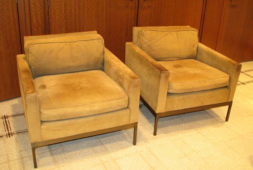 15: Pair of Nicos Zographos 70 Half Arm leather chairs