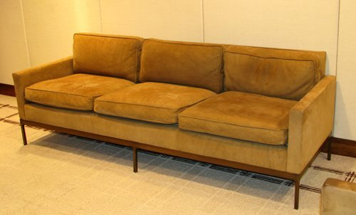 16: Suede upholstered sofa by Nicos Zographos