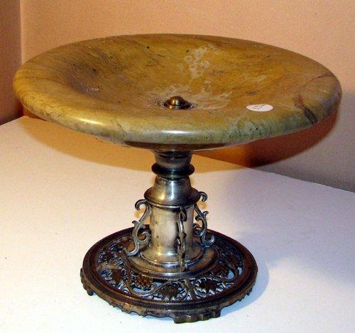 501: Oscar Bach Silvered-bronze and Alabaster Comport