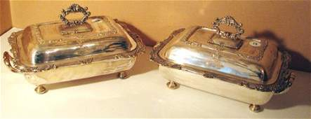 502 Pair English Victorianplate covered Entre Dishes