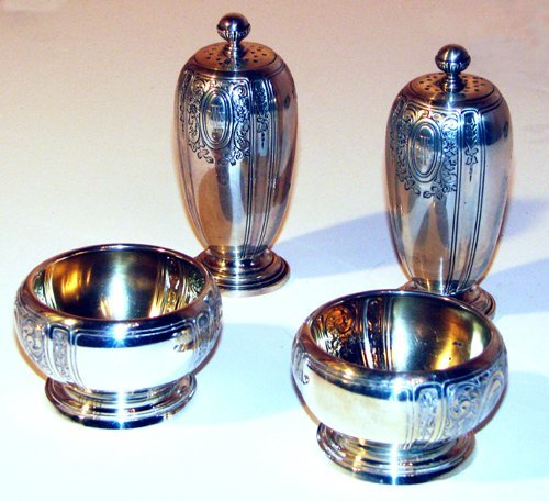 506: 2 sets Sterling Salt Cellars and Pepper shakers an