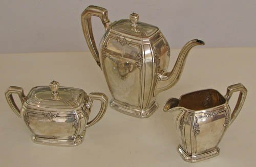 511: 3pc Towle Lady Mary Sterling Tea Set