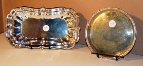 515: Sterling Rectangular-Shaped Bowl and Card Tray