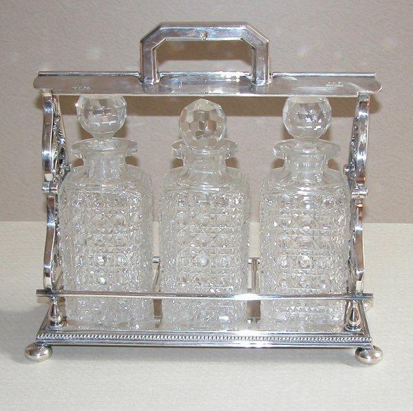 518: Sheffield silver liquor frame & decanters