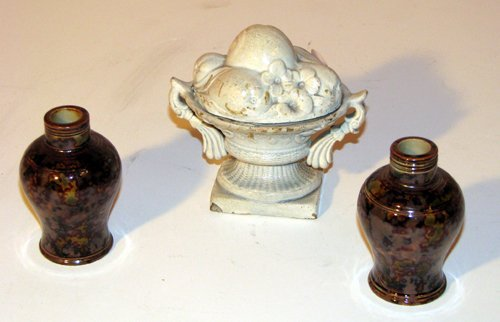 523: Staffordshire Salt Glaze urn and pair of vases