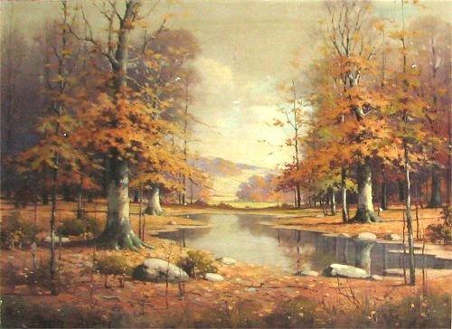592A: Orrin Draver Indiana Autumn Landscape Painting