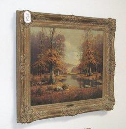 592A: Orrin Draver Indiana Autumn Landscape Painting - 3