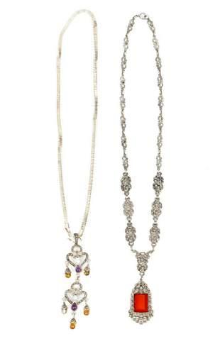 Two Silver & Semi-Precious Stone Necklaces