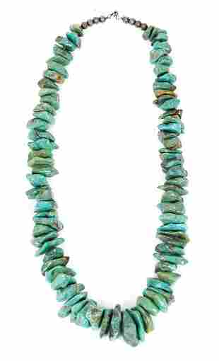 Unmarked Silver and Turquoise Necklace