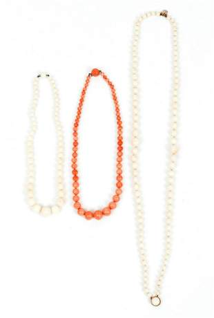 14K Coral and Angel Skin Coral Necklaces