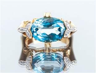 14K Gold and Aqua Ring