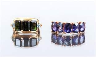 14K Gold and Semi-Precious Stone Rings