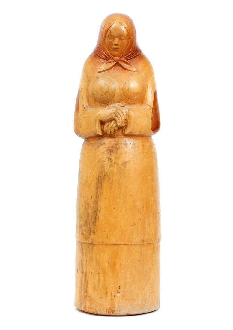 Josef Stachura carved wood sculpture Peasant Woman
