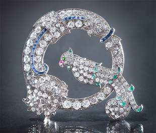 Platinum, Diamond & Gemstone Circle Parrot Brooch