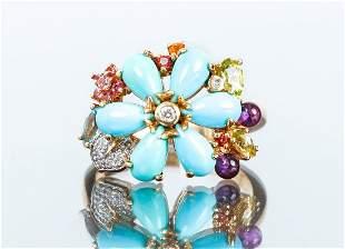 14K Yellow Gold and Semi-Precious Floral Ring.