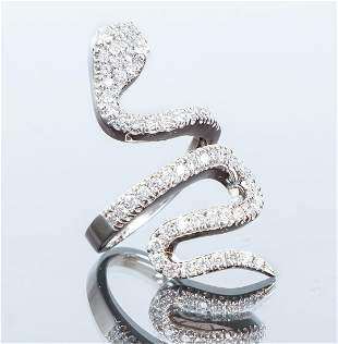 14K White Gold Diamond Snake Ring