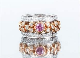 18K Gold Tourmaline and Diamond Ring