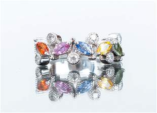 14K White Gold and Multi-Colored Stone Ring