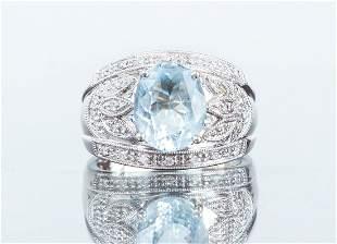 14K White Gold and Aquamarine Ring