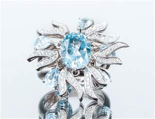 18K White Gold Aqua and Diamond Ring