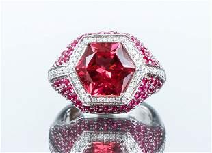18K Tourmaline, Ruby and Diamond Ring