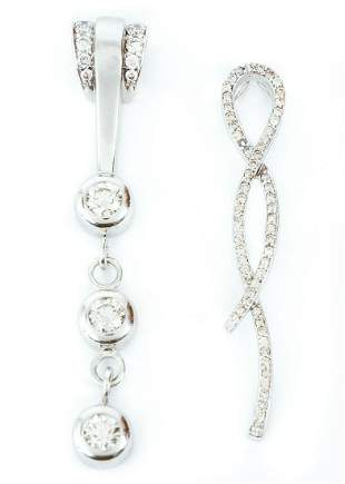 Two 14K White Gold Diamond Pendants