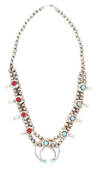 Vintage Navajo Squash Blossom Necklace