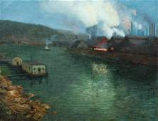 Large Aaron Gorson Steel Mills Oil Painting