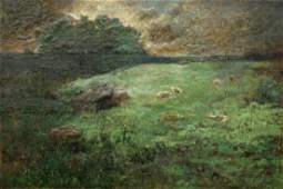 George Inness Jr Sheep in Landscape Painting
