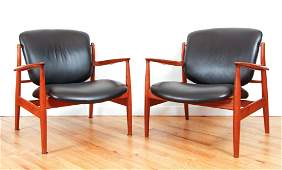 Pair Finn Juhl Lounge Chairs Danish Modern