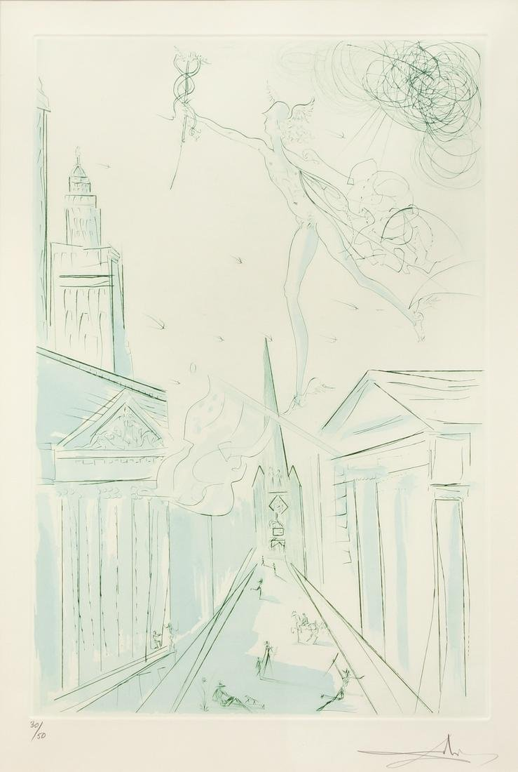 "SALVADOR DALI ""WALL STREET"" original etching 1972"