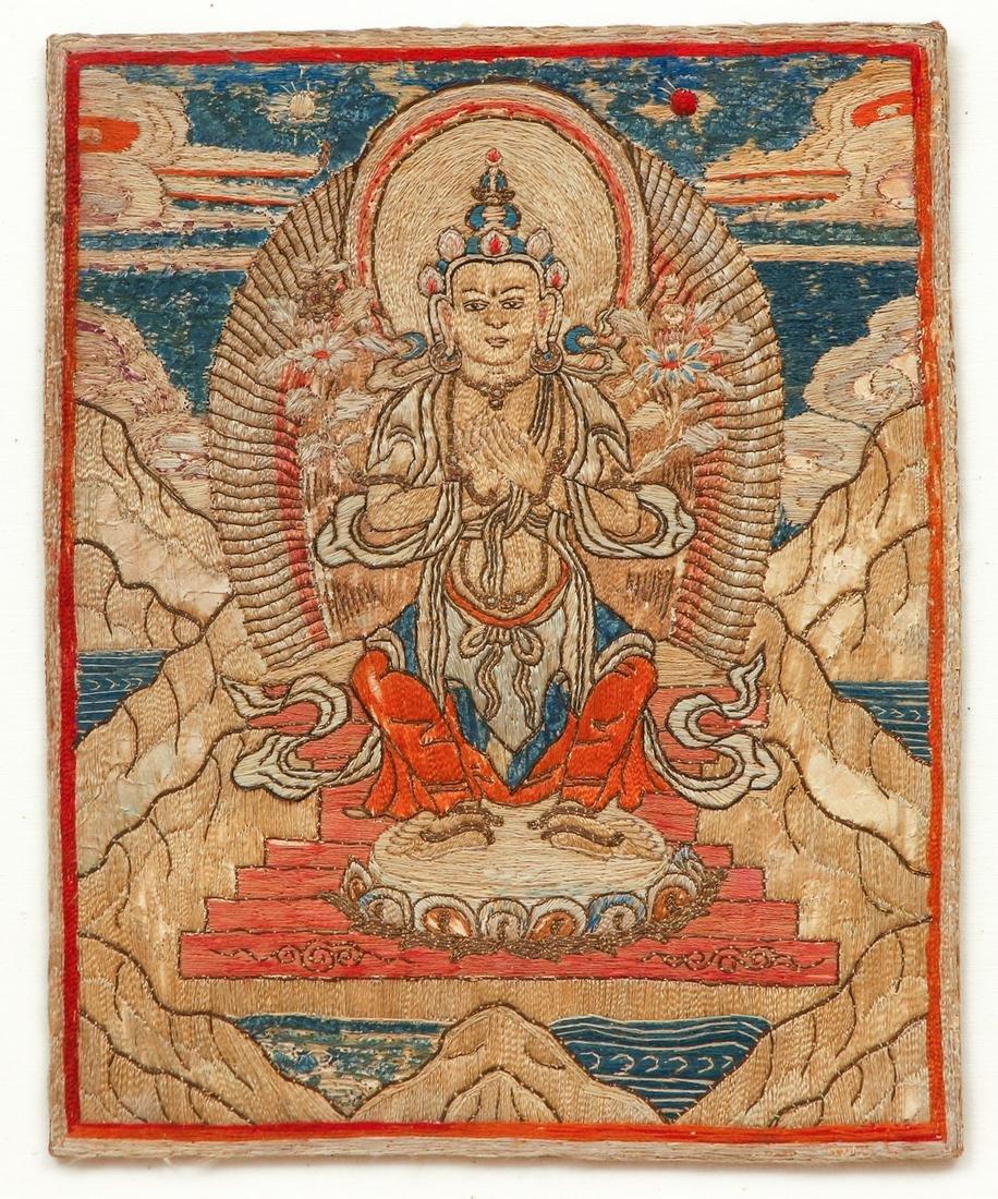Tibetan Silk Embroidery of Maitreya
