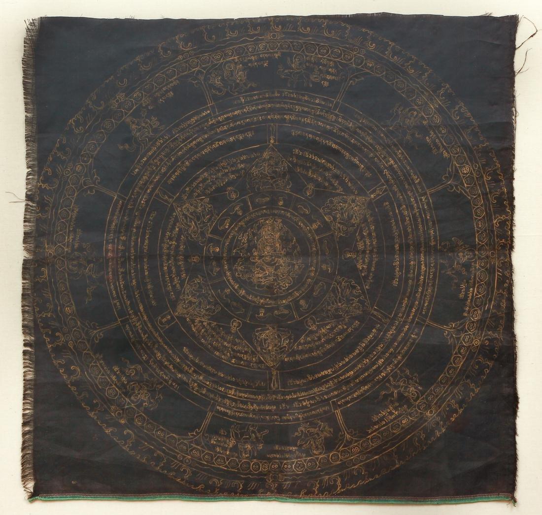 Tibetan Mandala of Mahakala with Dharanis
