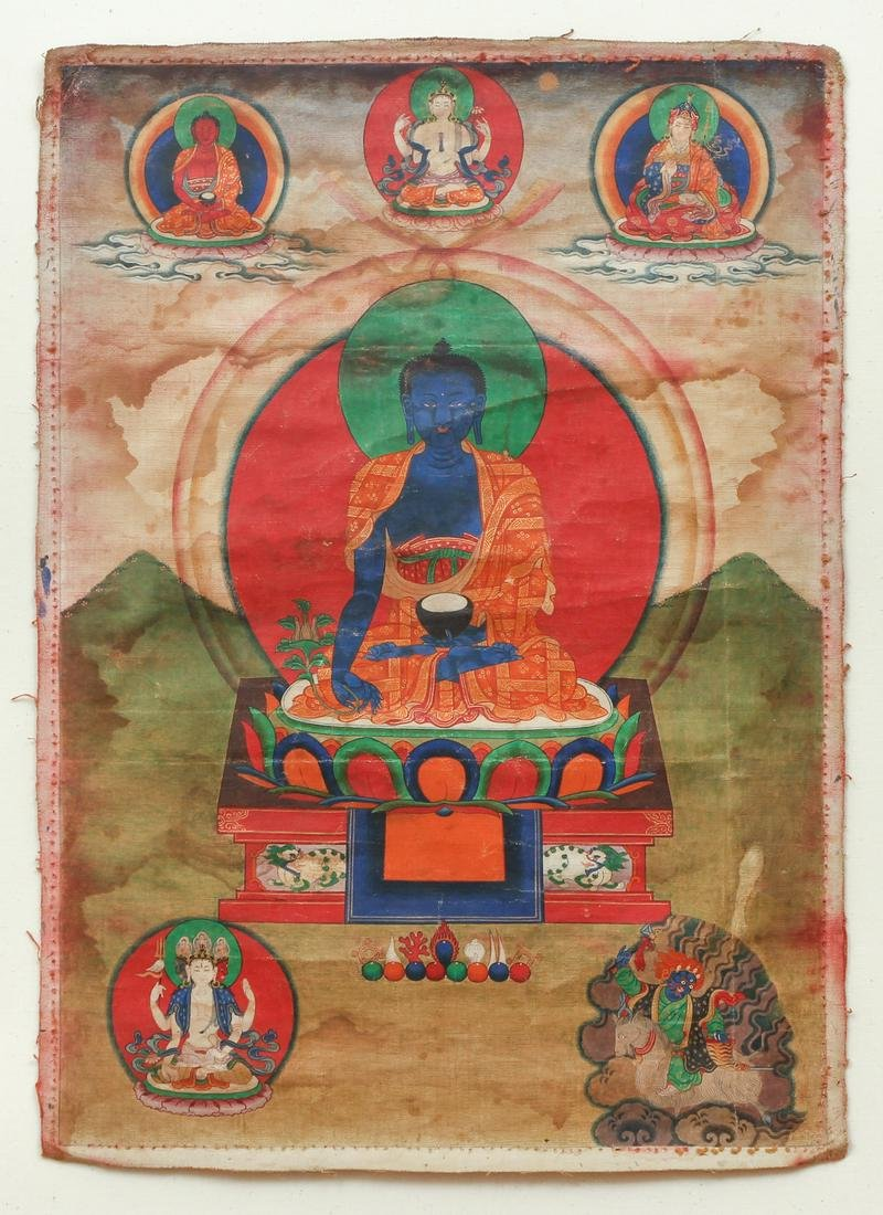 Tibetan Thangka Medicine Buddha Bhaishajayaguru