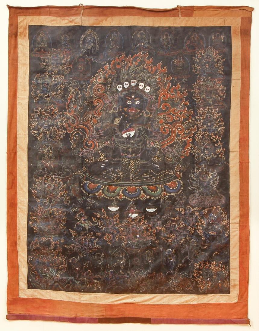 Large Tibetan Thangka Mahakala Gurgyi Gonpo